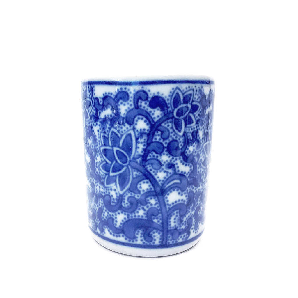 Blue & White Floral Painting Mini Porcelain Chopstick Container