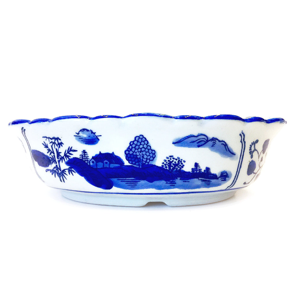 Blue & White Floral Painting Oval Shape Porcelain Bowl