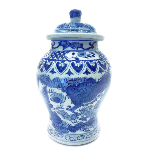 Blue & White Dragon Painting Porcelain Vase with Cover