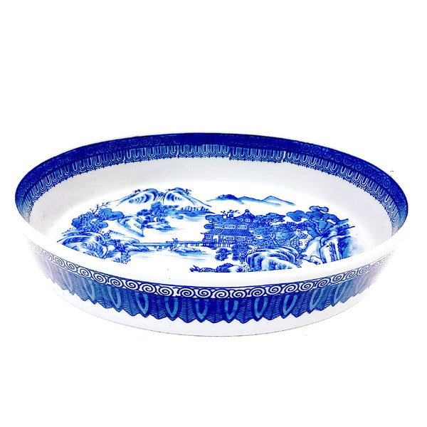 Blue & White Scenery Painting Oval Shape Porcelain Bowl