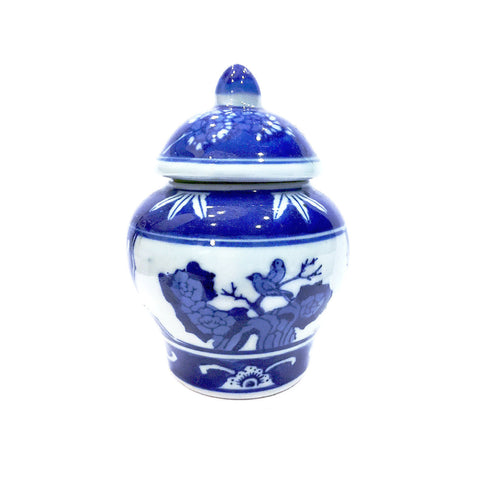 Blue & White Bird Painting Porcelain Container with Cover