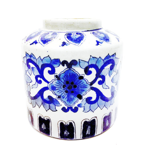 Blue & White Floral Painting Porcelain Vase