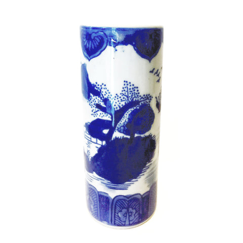 Blue & White Chinese Painting Slim Porcelain Chopstick Container