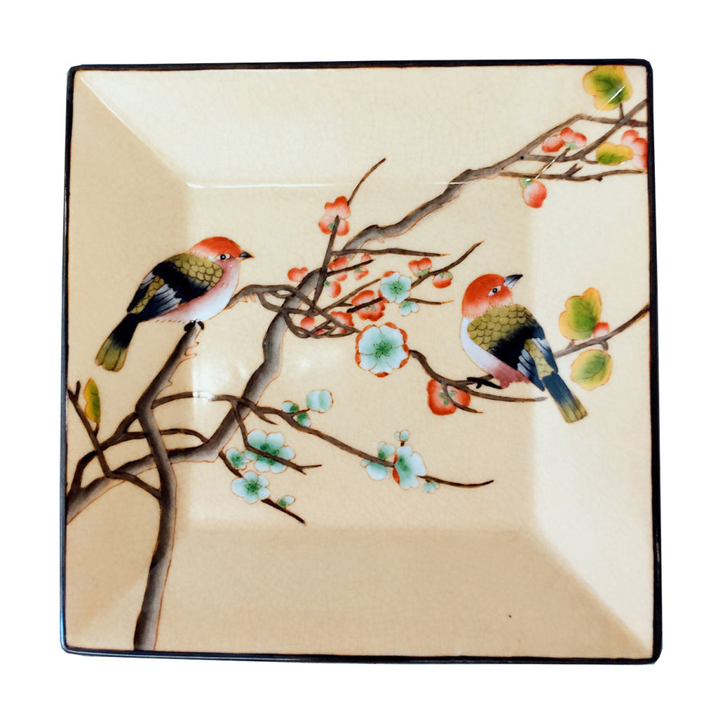 Earthie Color Birds Painting Porcelain Plate