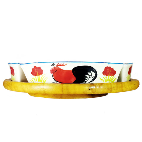 Lazy Susan with 6 Chinese Chicken Porcelain Bowls