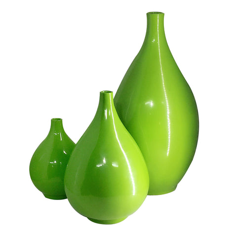3 Unique Apple Green Porcelain Vases
