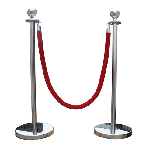Stainless Steel Ball Top Queue Poles with Red Velvet Ropes