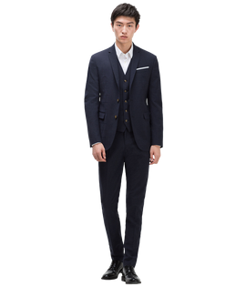 Navy Blue Checked Suit