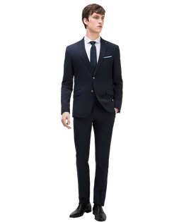 Textured 3 piece suit Classic button fastening Chest pocket with pocket square Pin detail on lapel