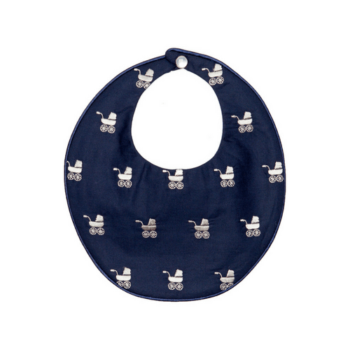 Navy Repeat Pram Bib Poppie and George