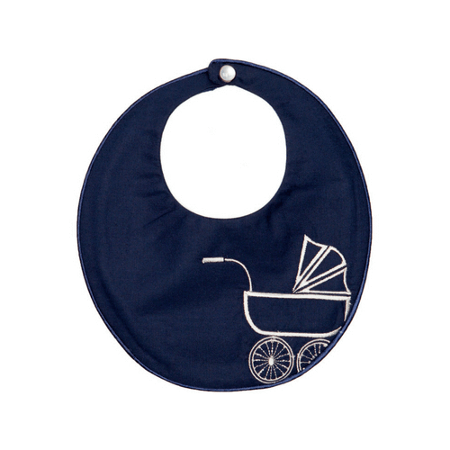 Navy Vintage Pram Bib Poppie and George