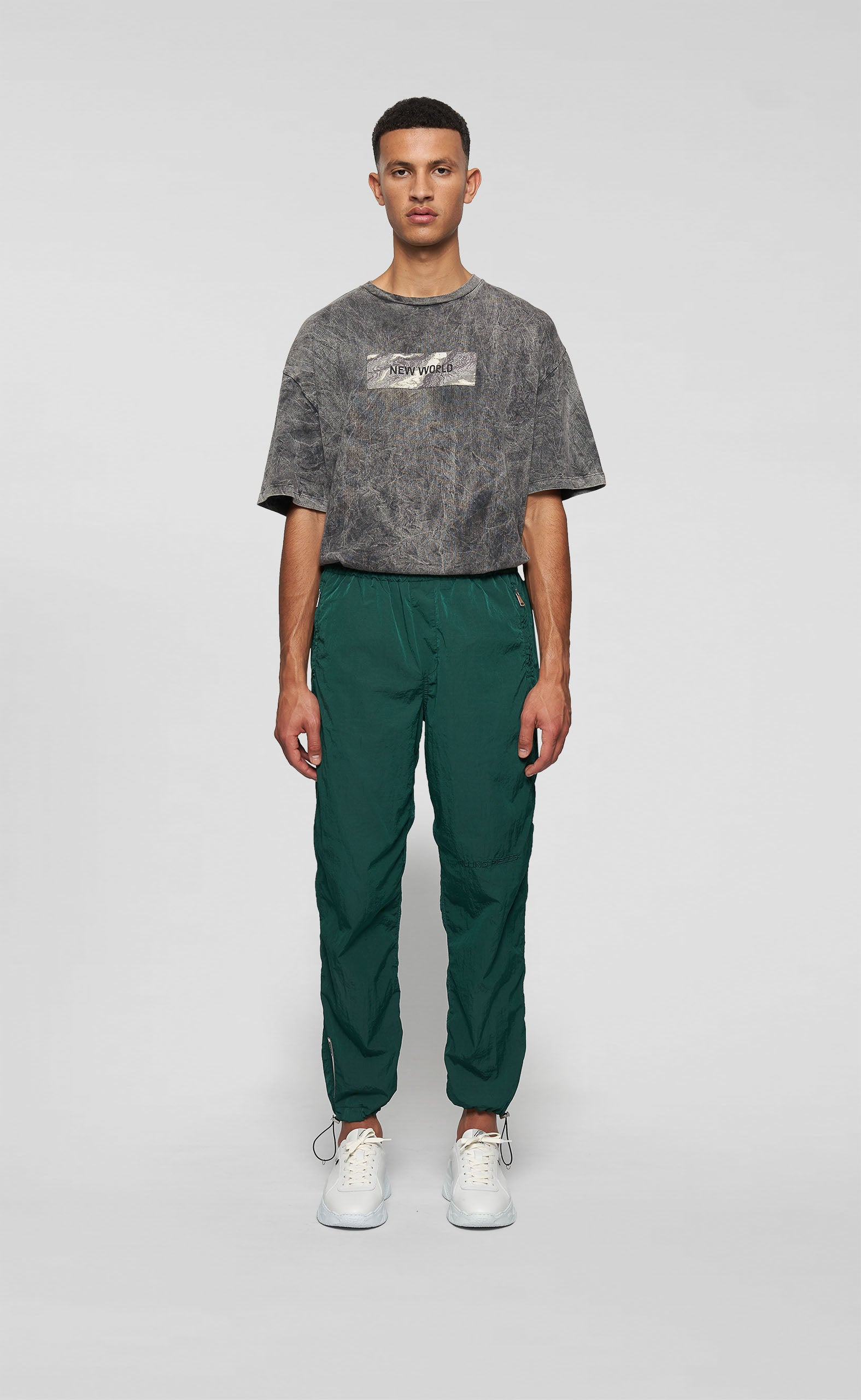 NYLON CORD PANTS SEA MOSS - men