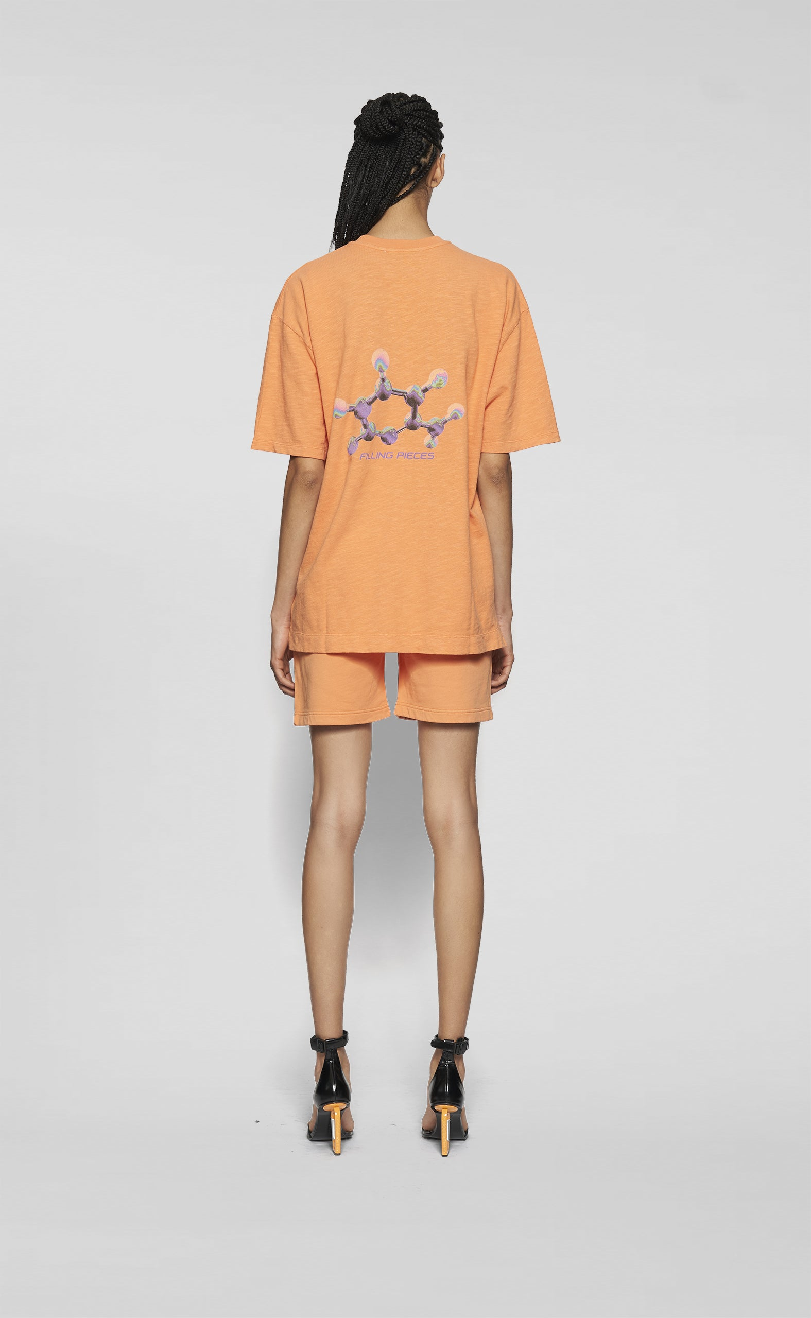 Graphic Tee Molecules Vibrant Orange - women