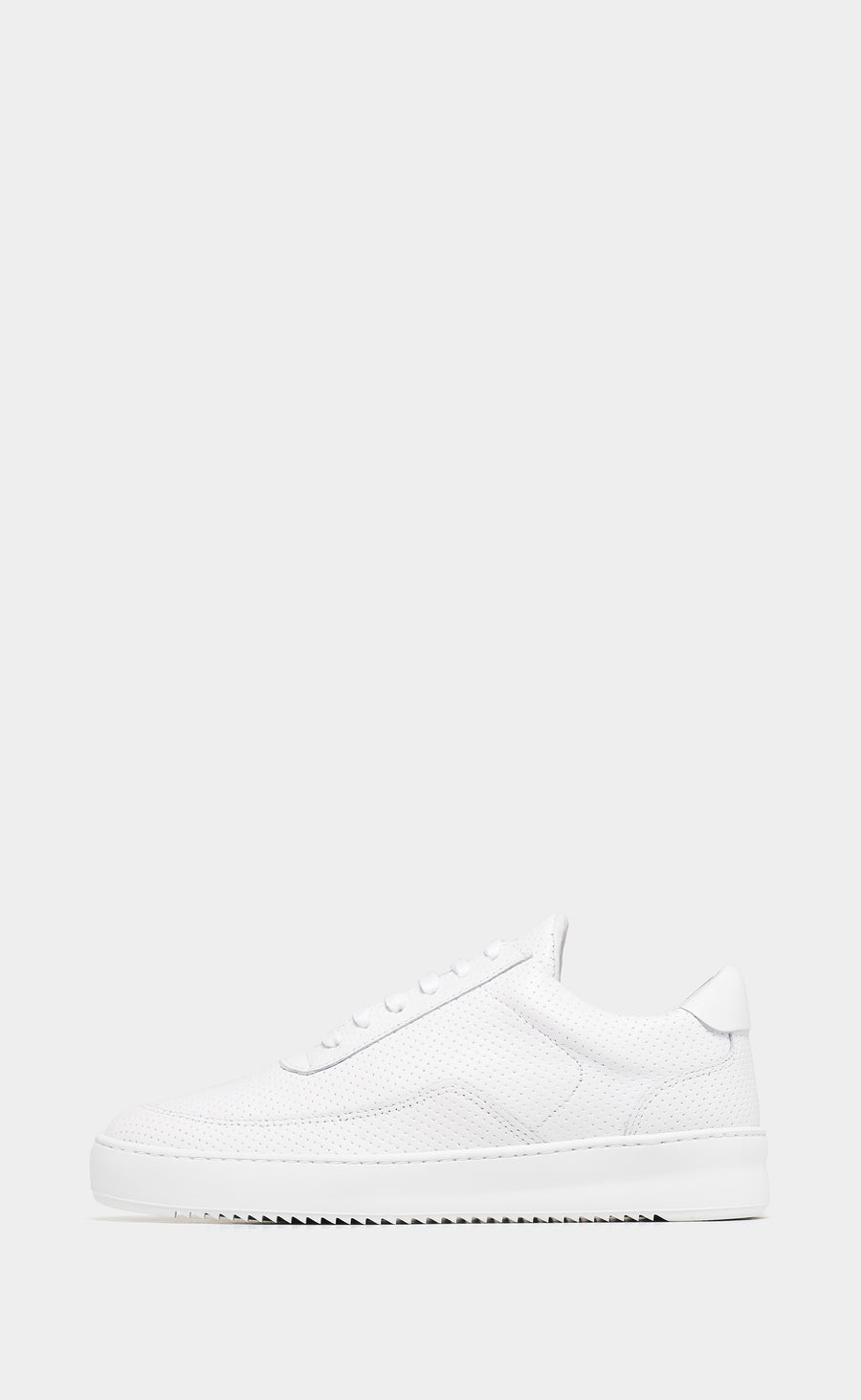 Low Mondo Ripple Nappa Perforated All White