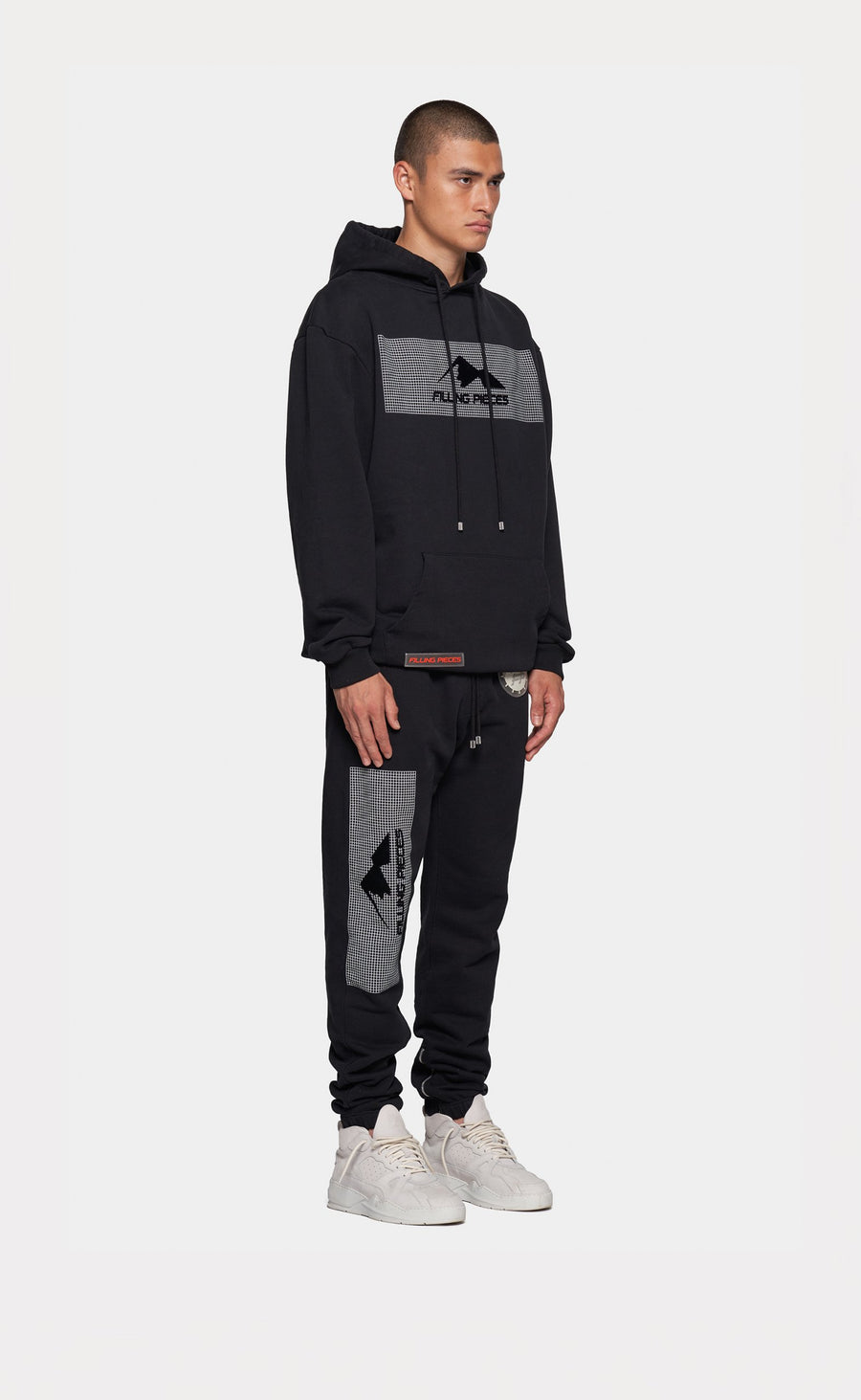 Graphic Hoodie Black - Mountain Grid