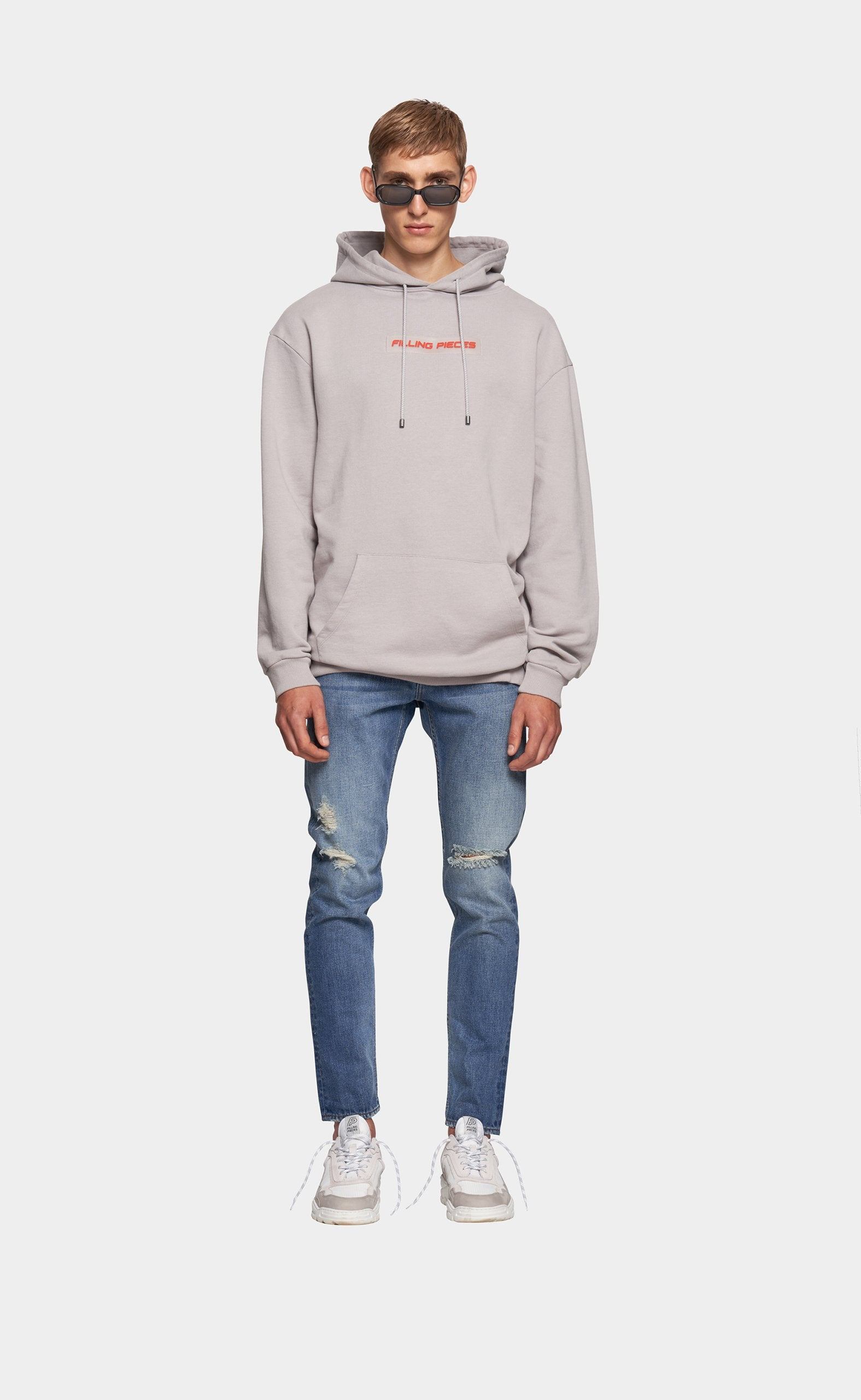 Graphic Hoodie Grey - Orange Patch