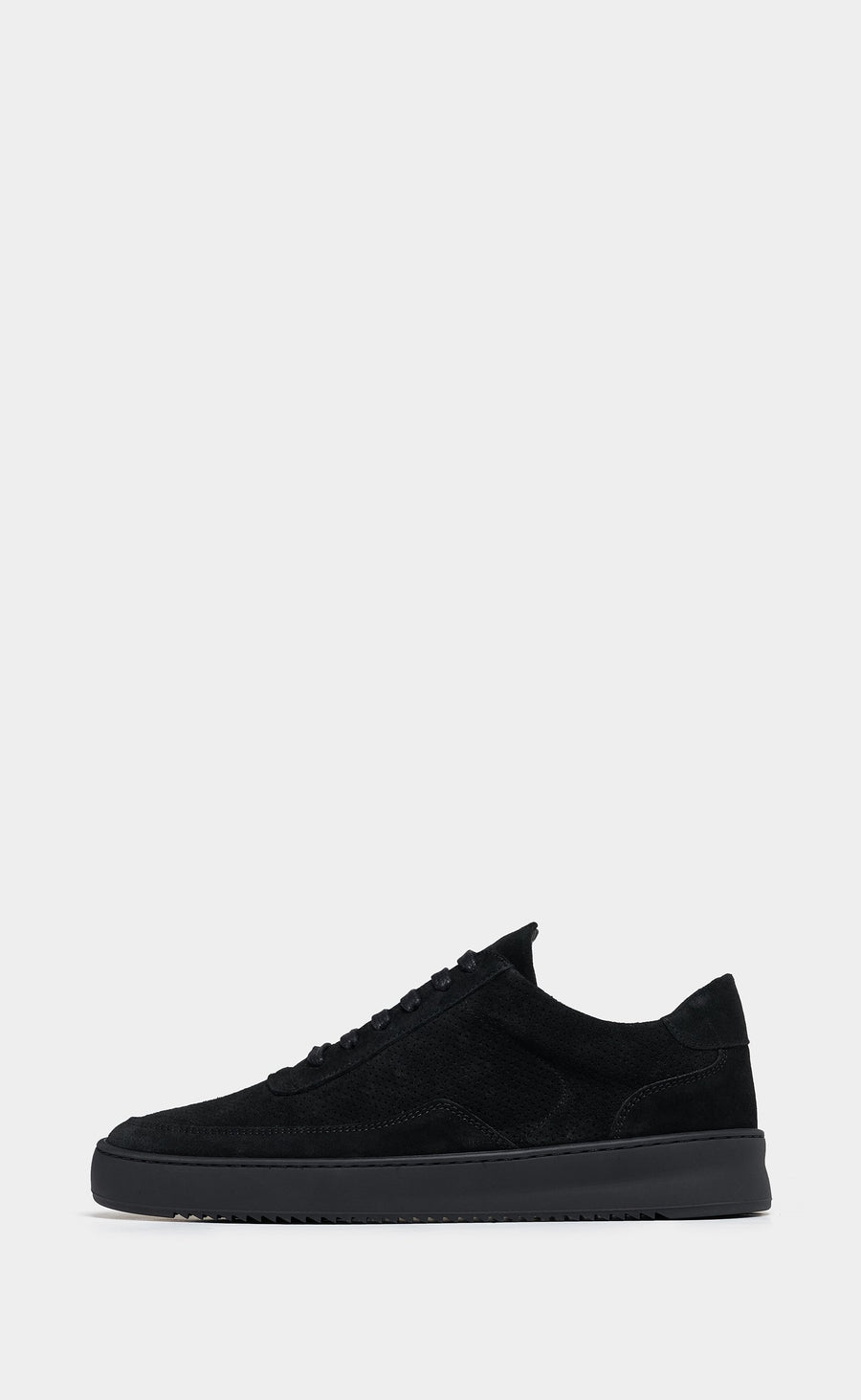 Low Mondo Ripple Suede Perforated All Black