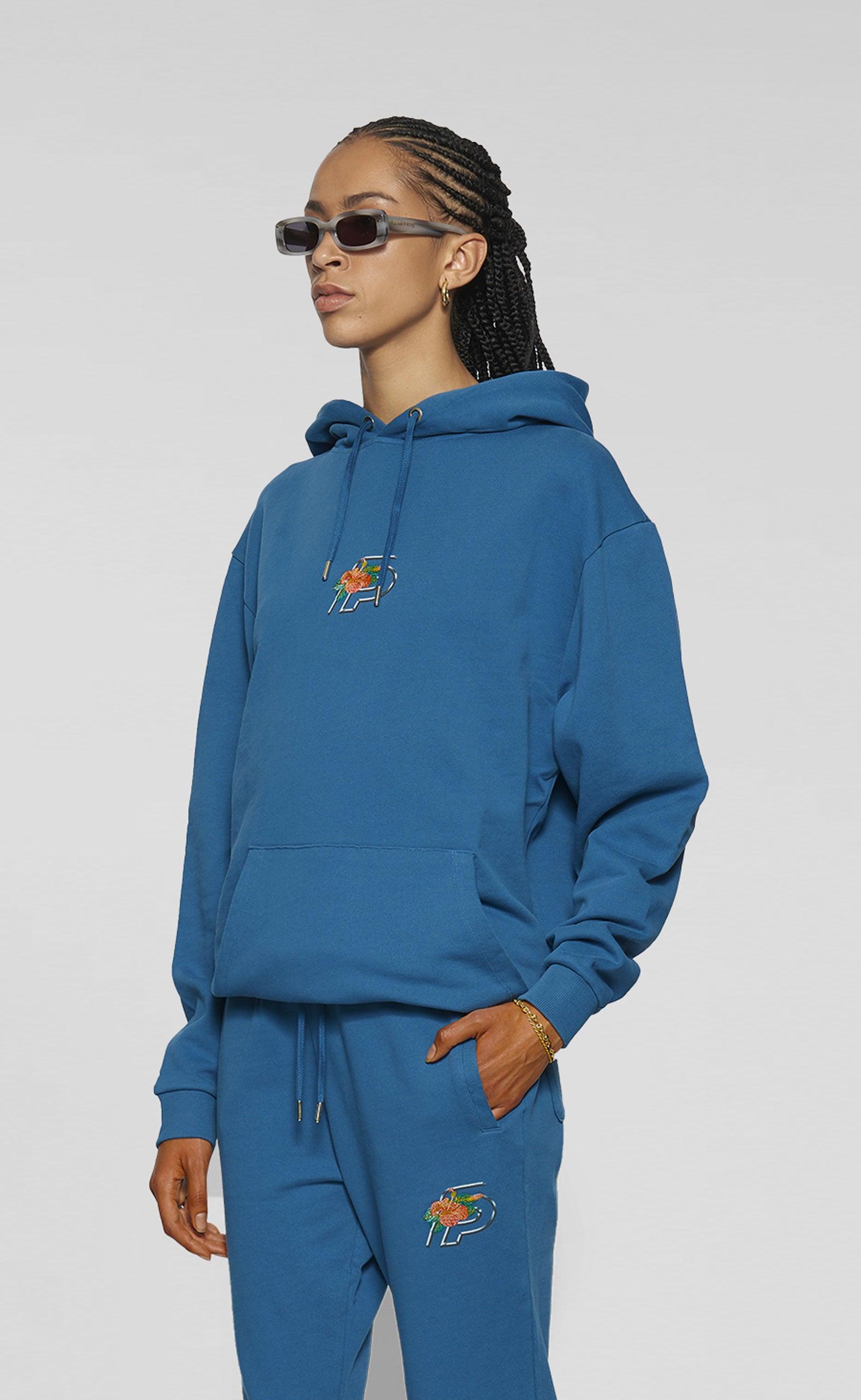 Graphic Hoodie FP Flower Saxony Blue - women