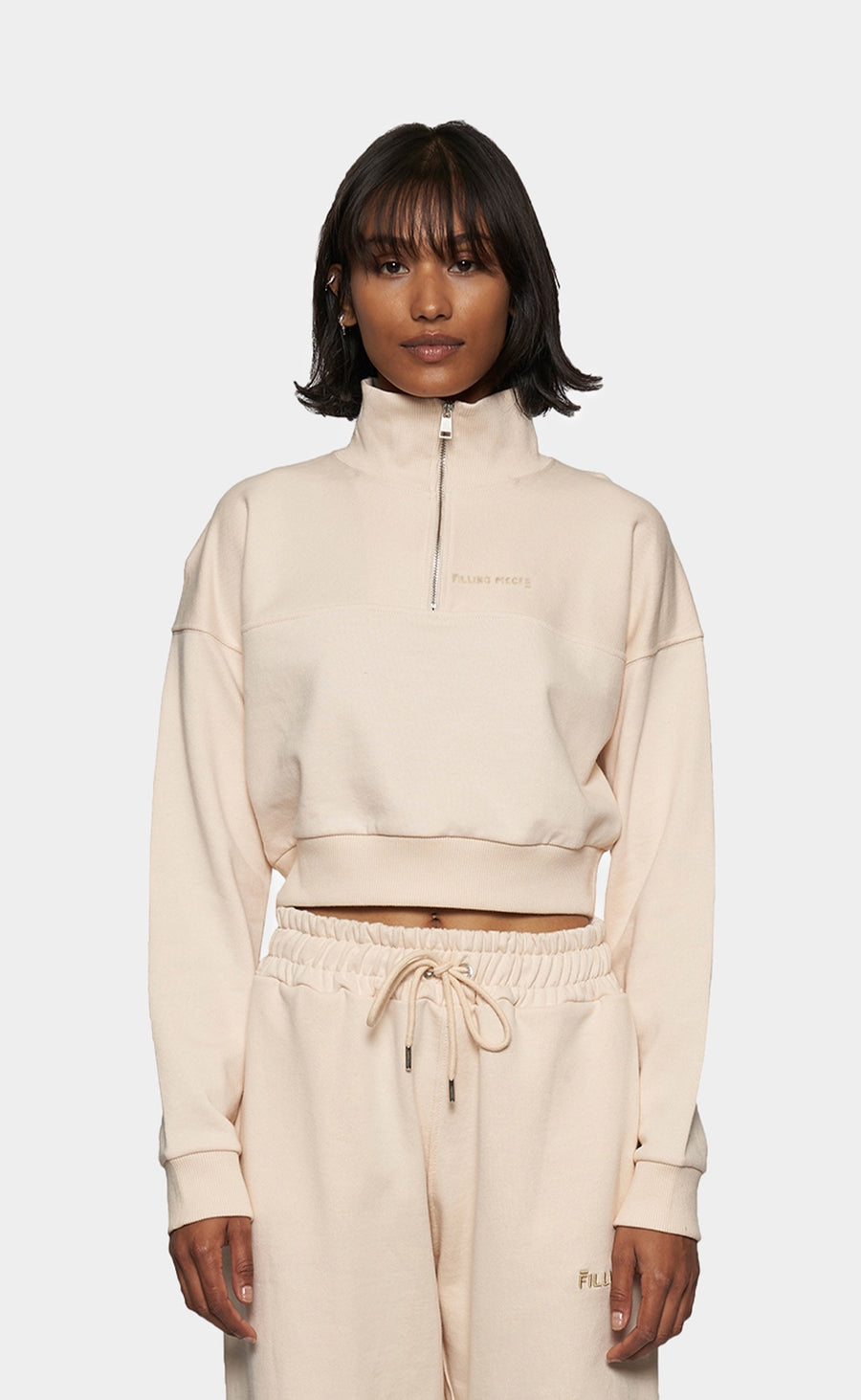Cropped Zip Mock Eggshell