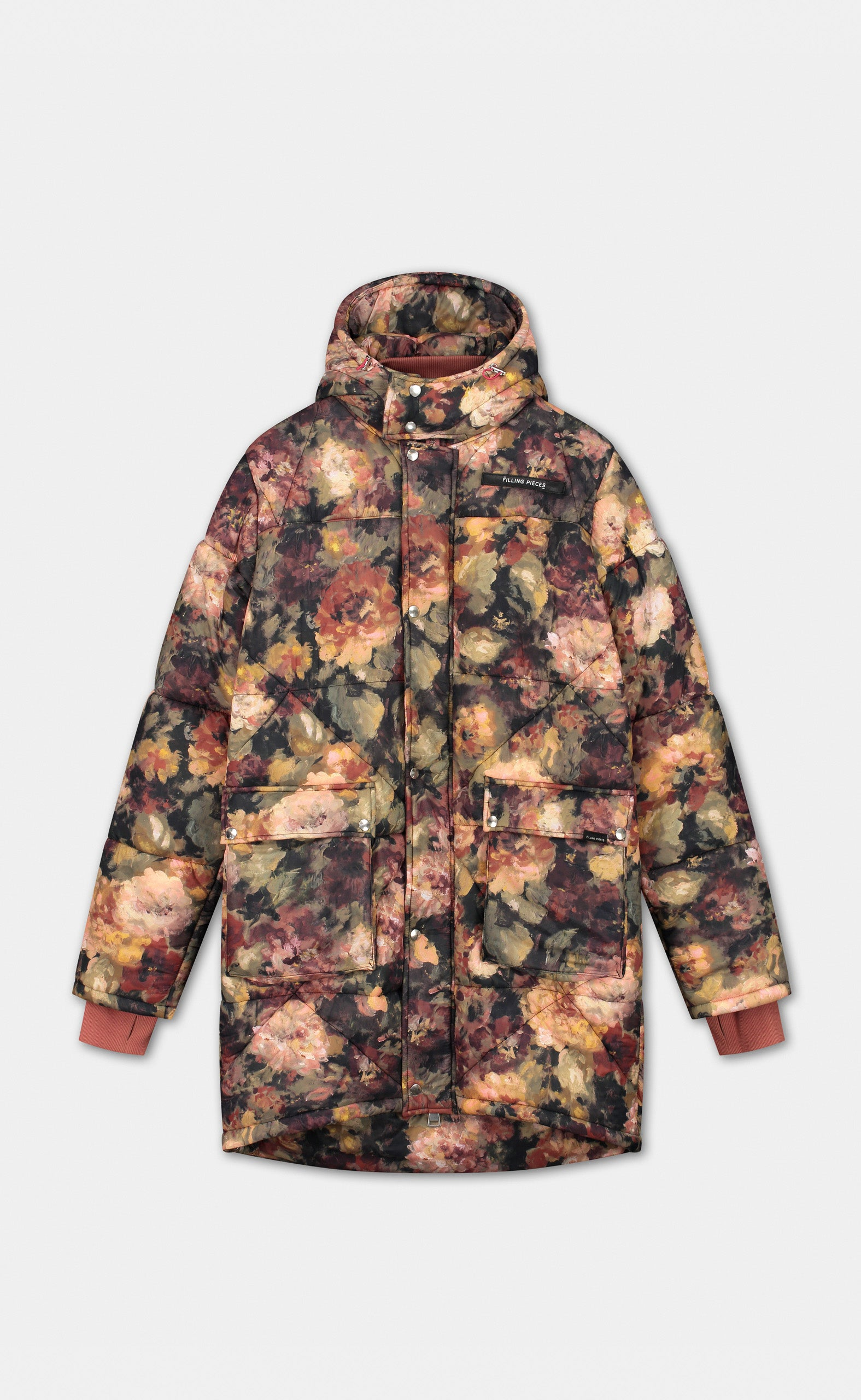 Long Puffer Coat Flower - women