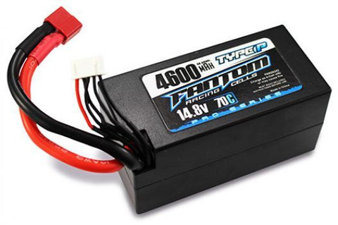 FANTOM LIPO SHORTY BATTERY 70C-140C PRO RACING LiPo - 4600mAh, 14.8v, 4-Cell, Deans Connector