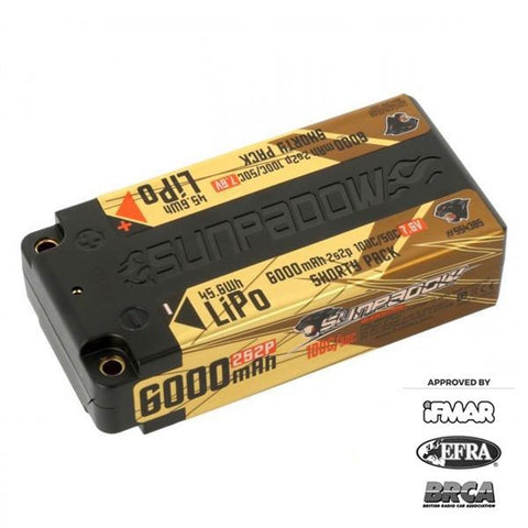 Sunpadow 7.6V 2S HV 6000mAh 100C/50C Shorty LiPo Battery (554385)