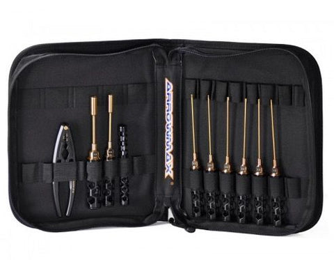 ARROWMAX AM Toolset For 1/10 Offroad (12Pcs) With Tools Bag Black Golden(AM-199441)