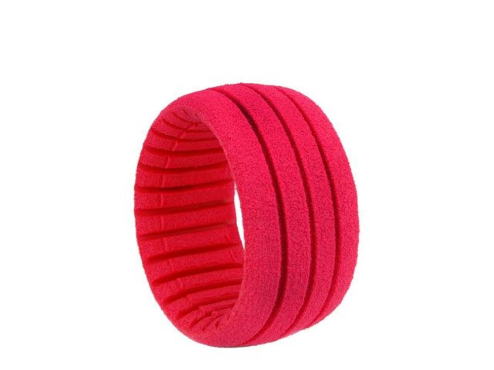 AKA 1:8 TRUGGY SHAPED INSERT GROOVED RED (SOFT) (4PCS)
