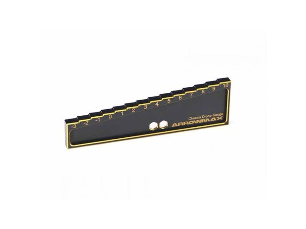 ARROWMAX Chassis Droop Gauge -3 to 10mm for 1/8, 1/10 Cars (20mm) Black Golden (AM-171013)
