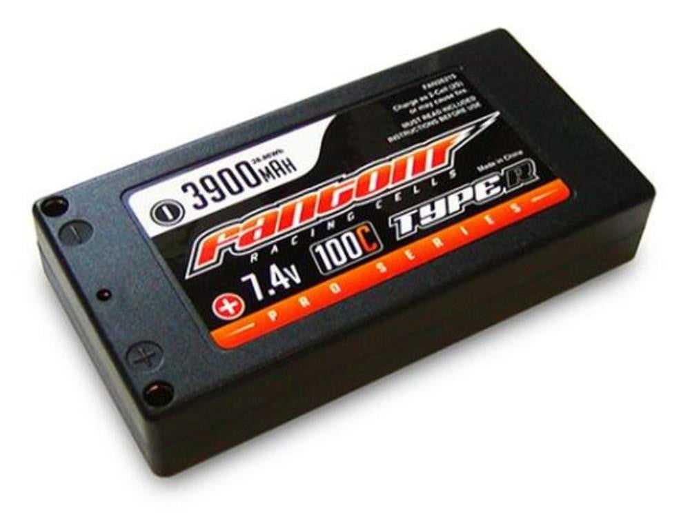 FANTOM LIPO BATTERY 3900mAh, 100C, 2S, Pro, Thin Shorty, 4mm bullet