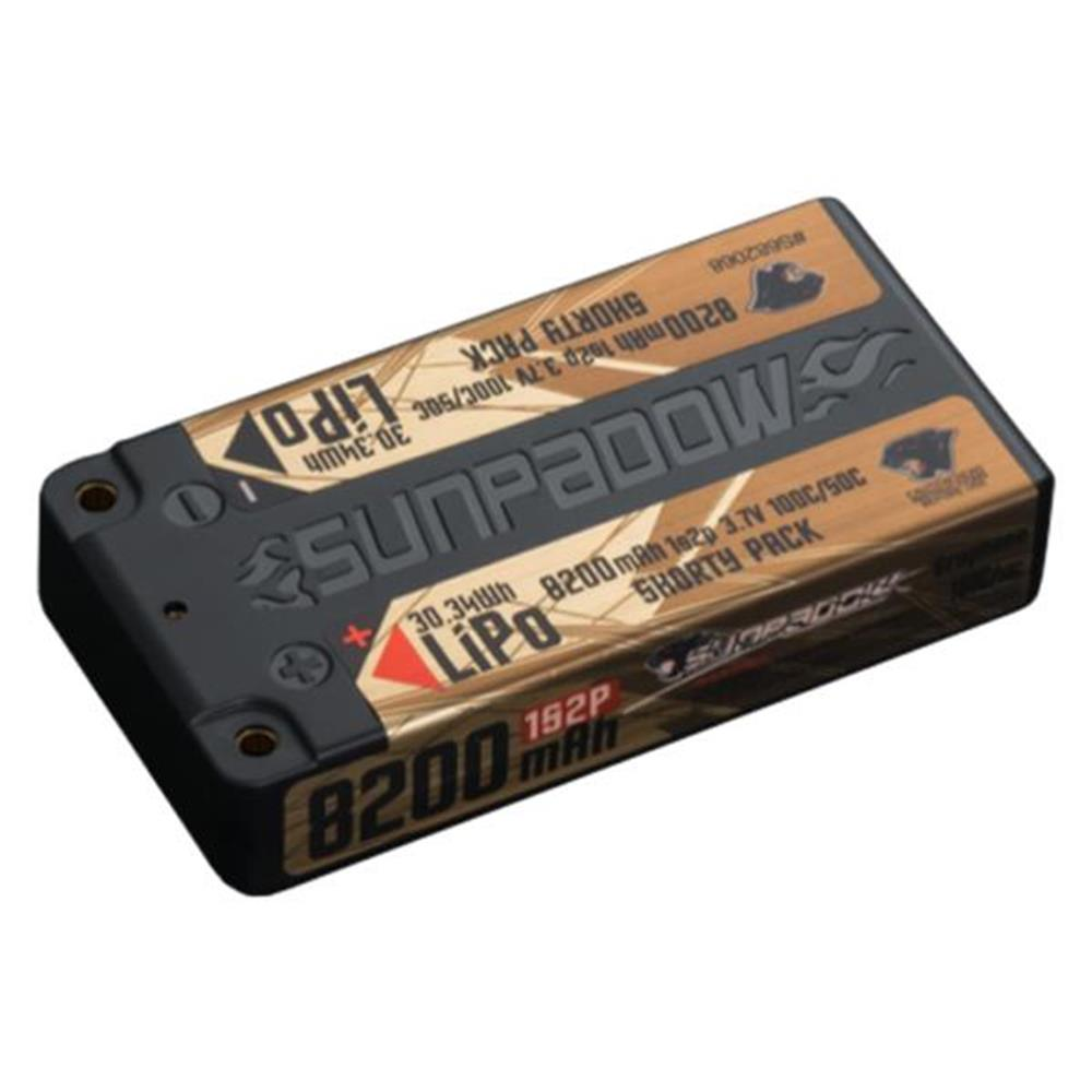 Sunpadow 3.7V 1S 8200mAh 100C/50C Shorty LiPo Battery (S682068)