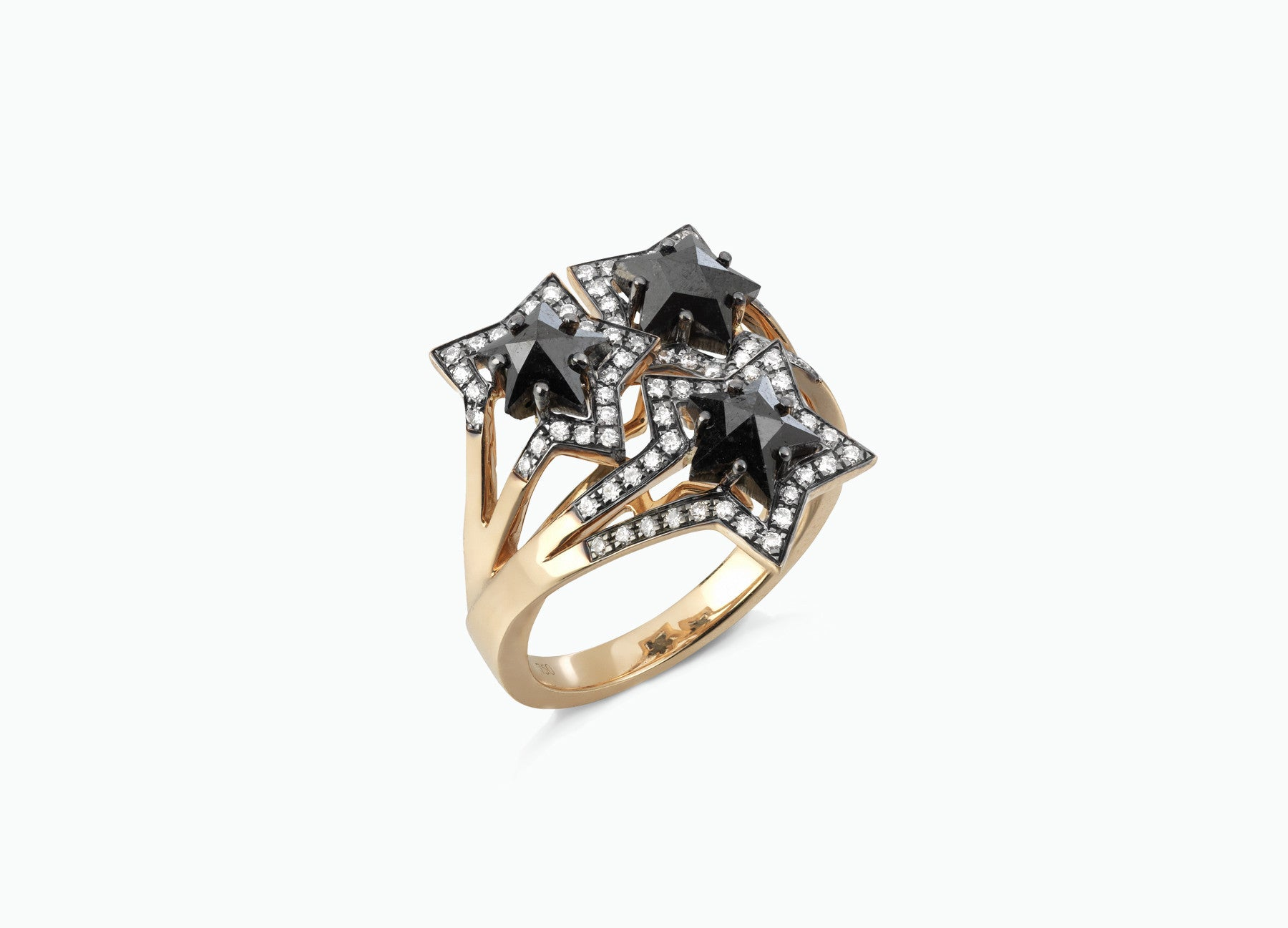 BLACK STAR THREE STAR RING