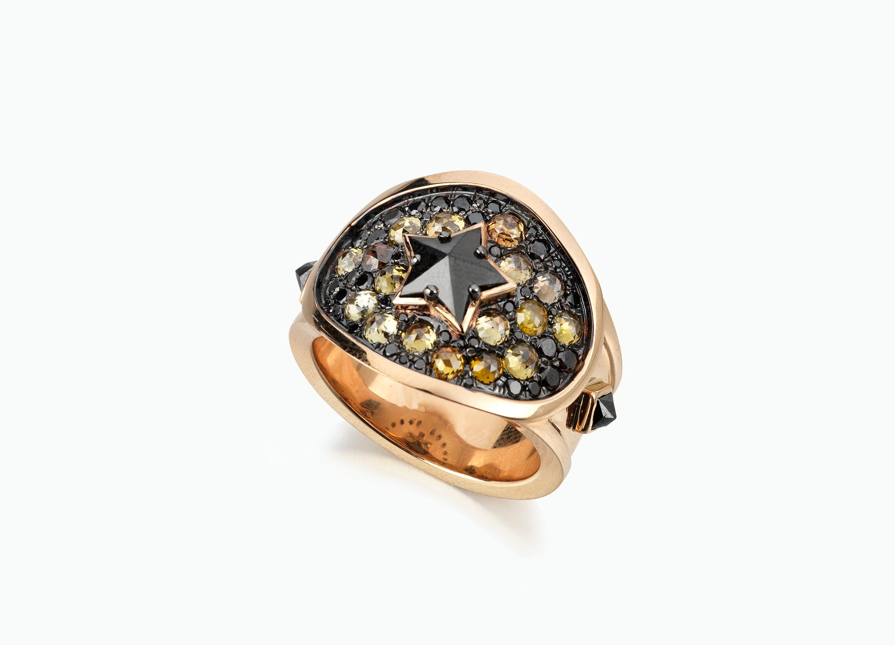 BLACK STAR DIAMOND CIGAR RING