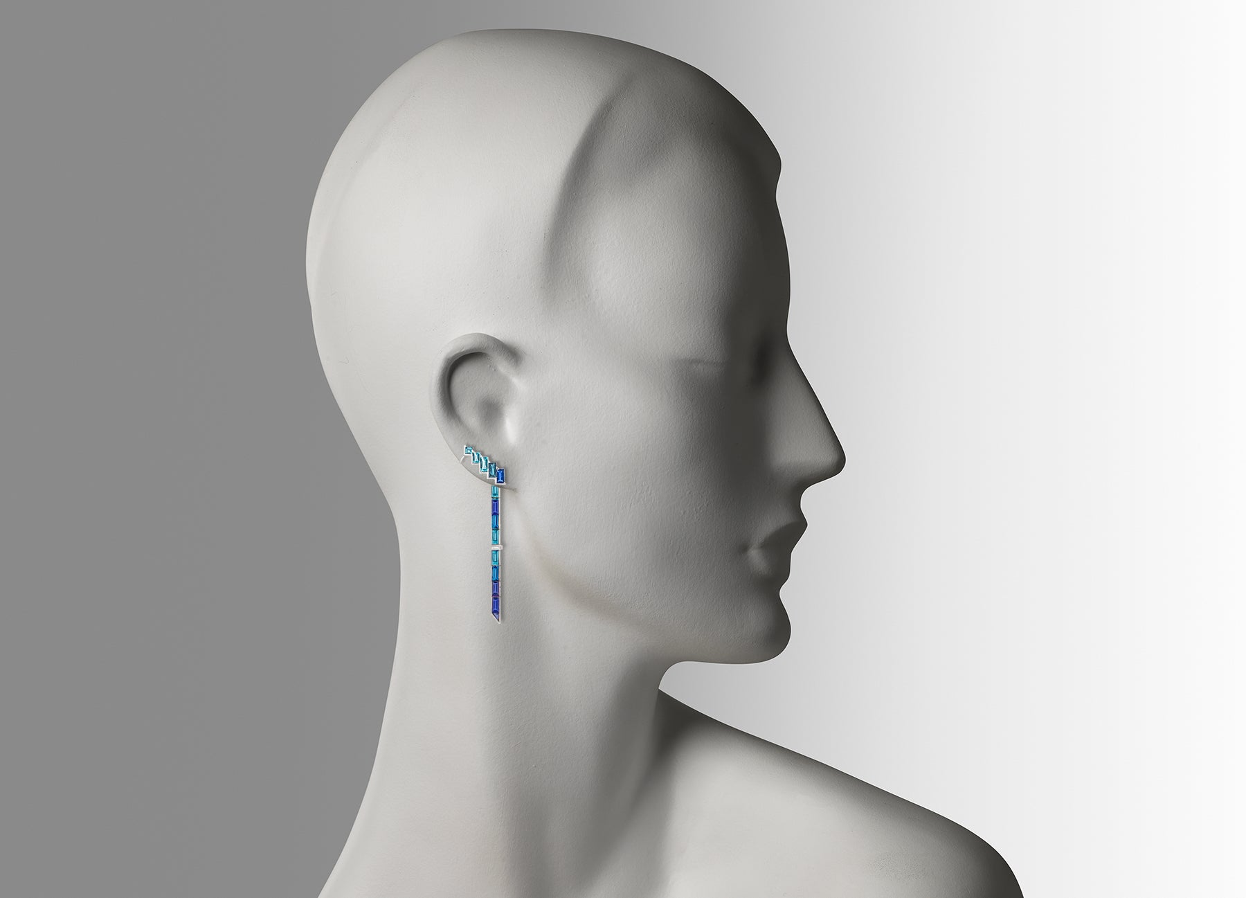 ELECTRIC NIGHT BLUE CUFF EARRINGS WITH SINGLE DROP