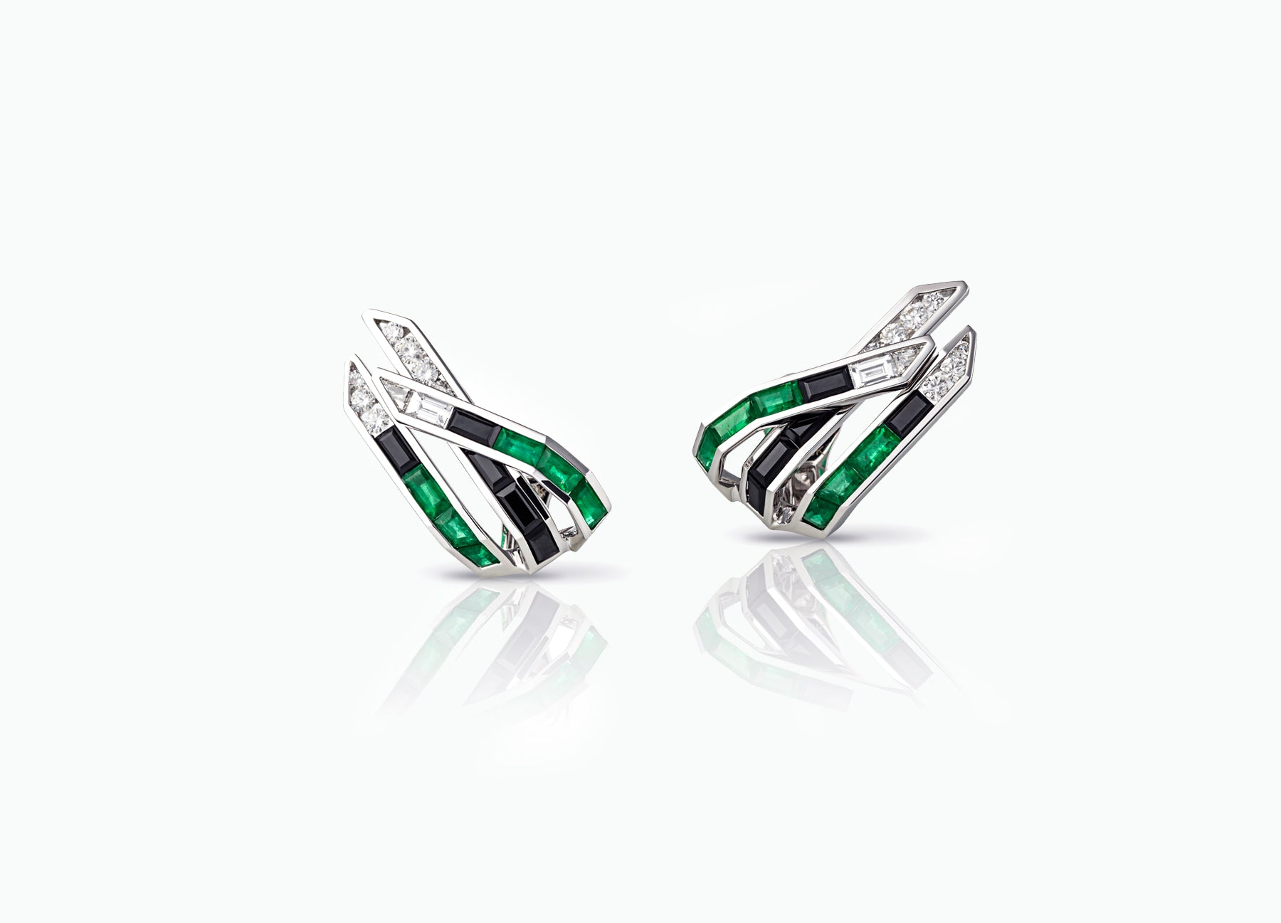 Electric Night Emerald Wing Ear Climbers