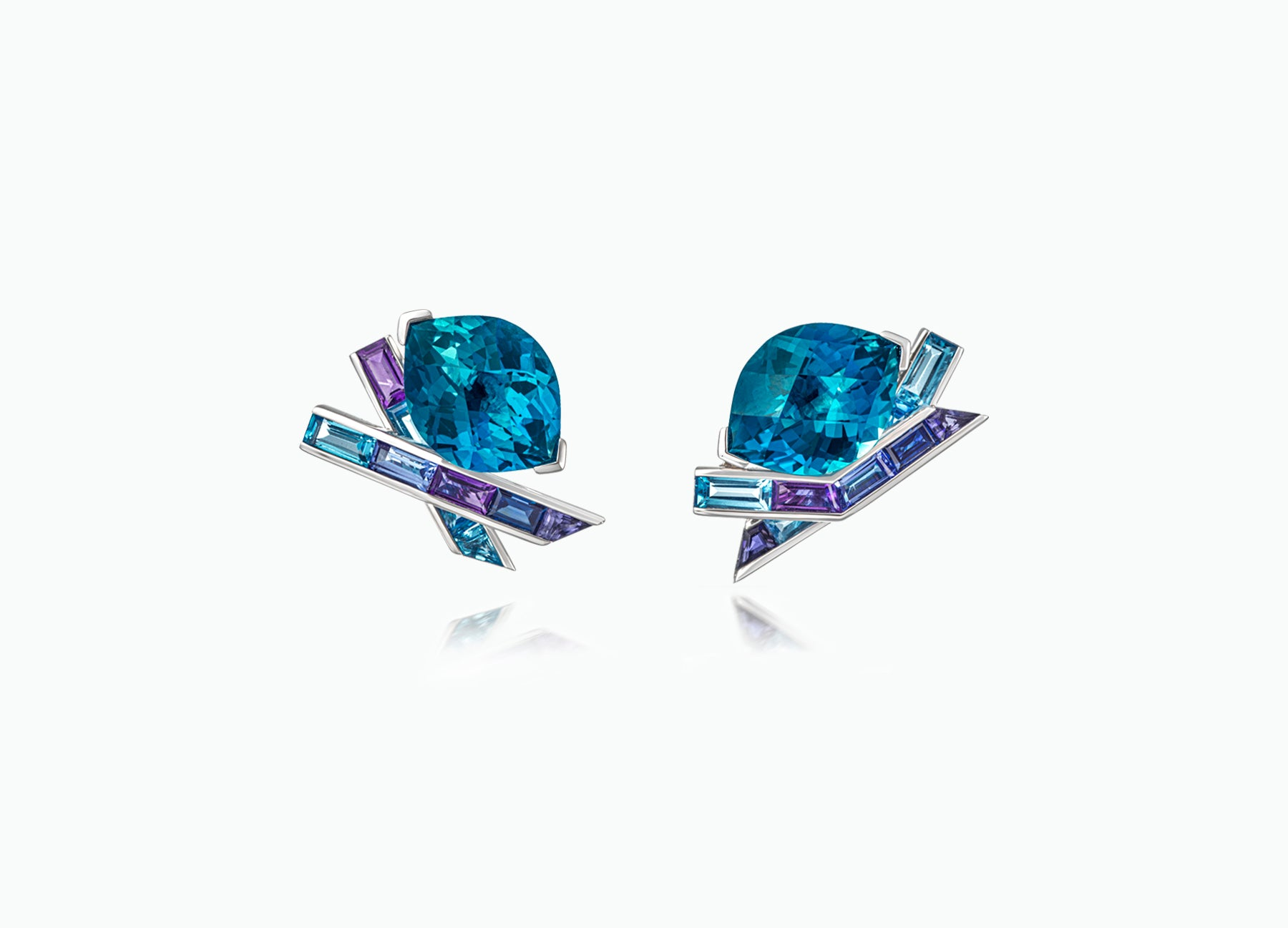 ELECTRIC NIGHT BLUE TOPAZ COCKTAIL STUD EARRINGS