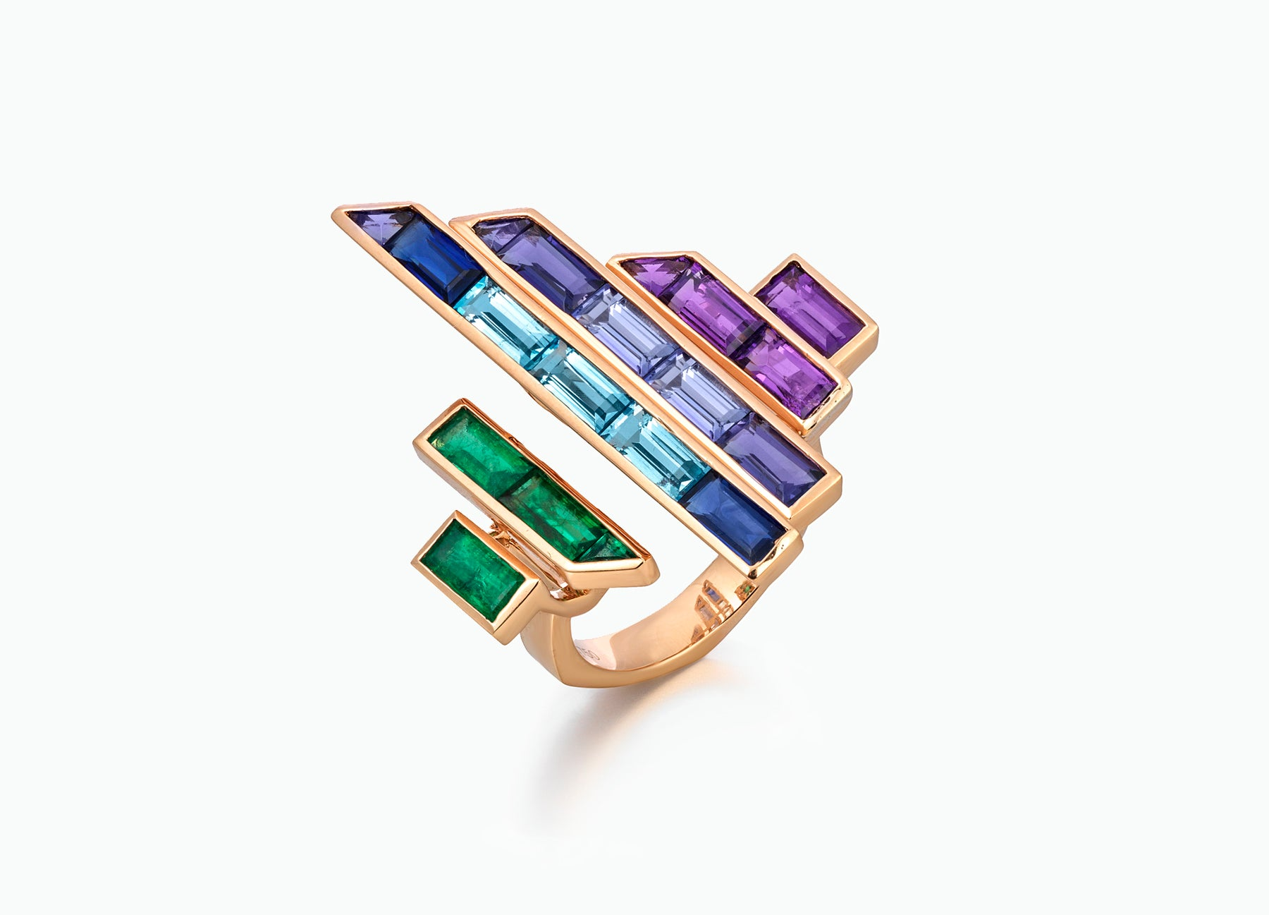 Blade runner rainbow ring in 18K rose gold by Tomasz Donocik side view