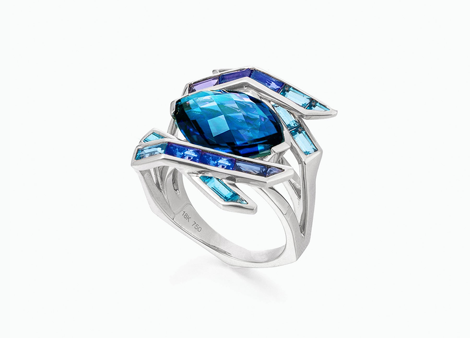 ELECTRIC NIGHT BLUE COCKTAIL RING