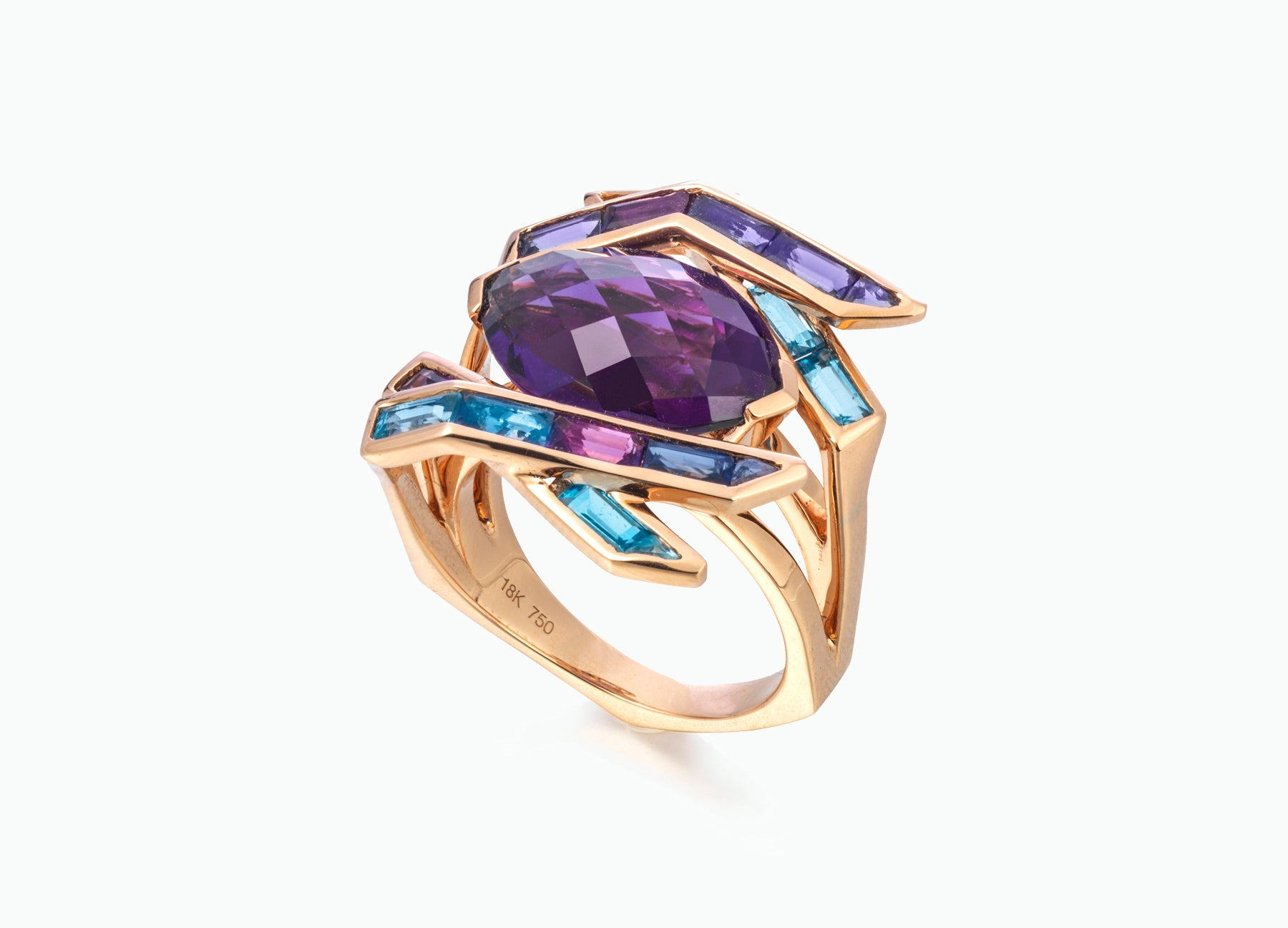 Electric Night Amethyst Cocktail Ring side view