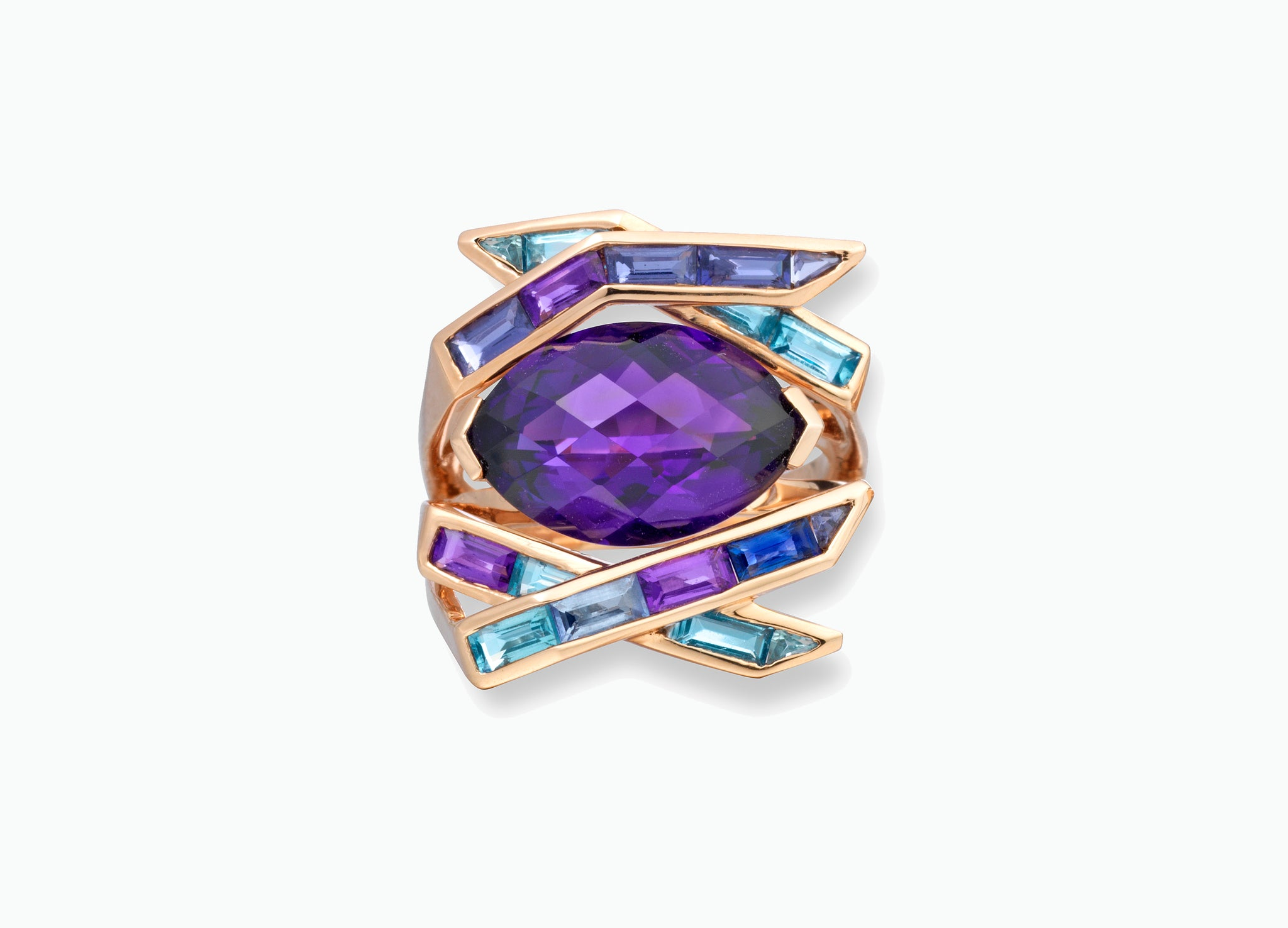 Electric Night Amethyst Cocktail Ring top view