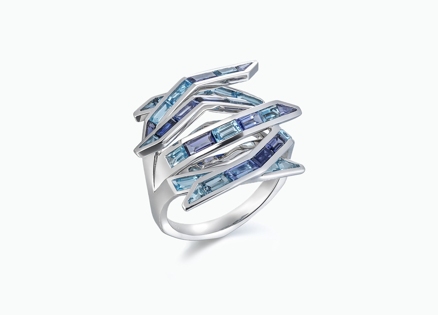 Blue Gem Bombay Ring in 18K White Gold by Tomasz Donocik side view