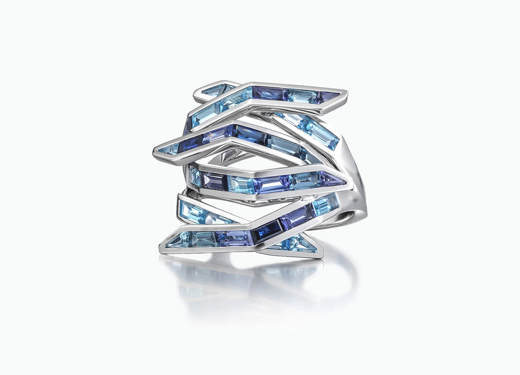 Blue Gem Bombay Ring in 18K White Gold by Tomasz Donocik front view