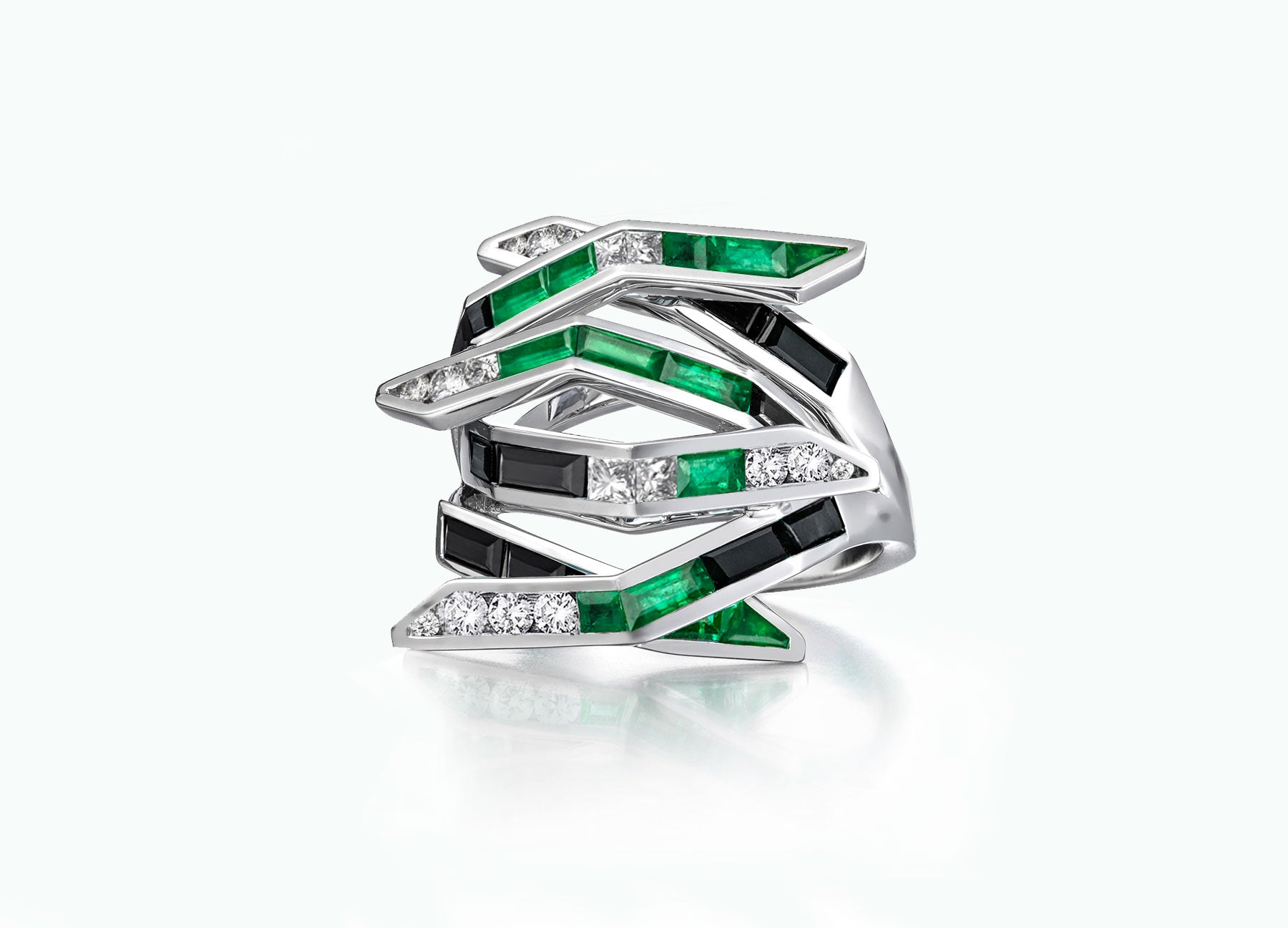 Emerald Diamond and Black Spinel Bombay Contemporary Ring by Tomasz Donocik Front View