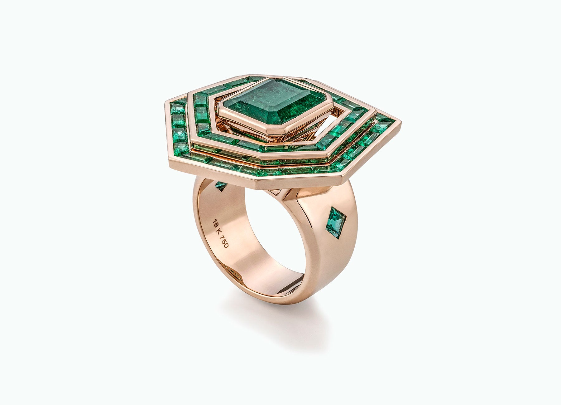 ELECTRIC NIGHT EMERALD HALO RING