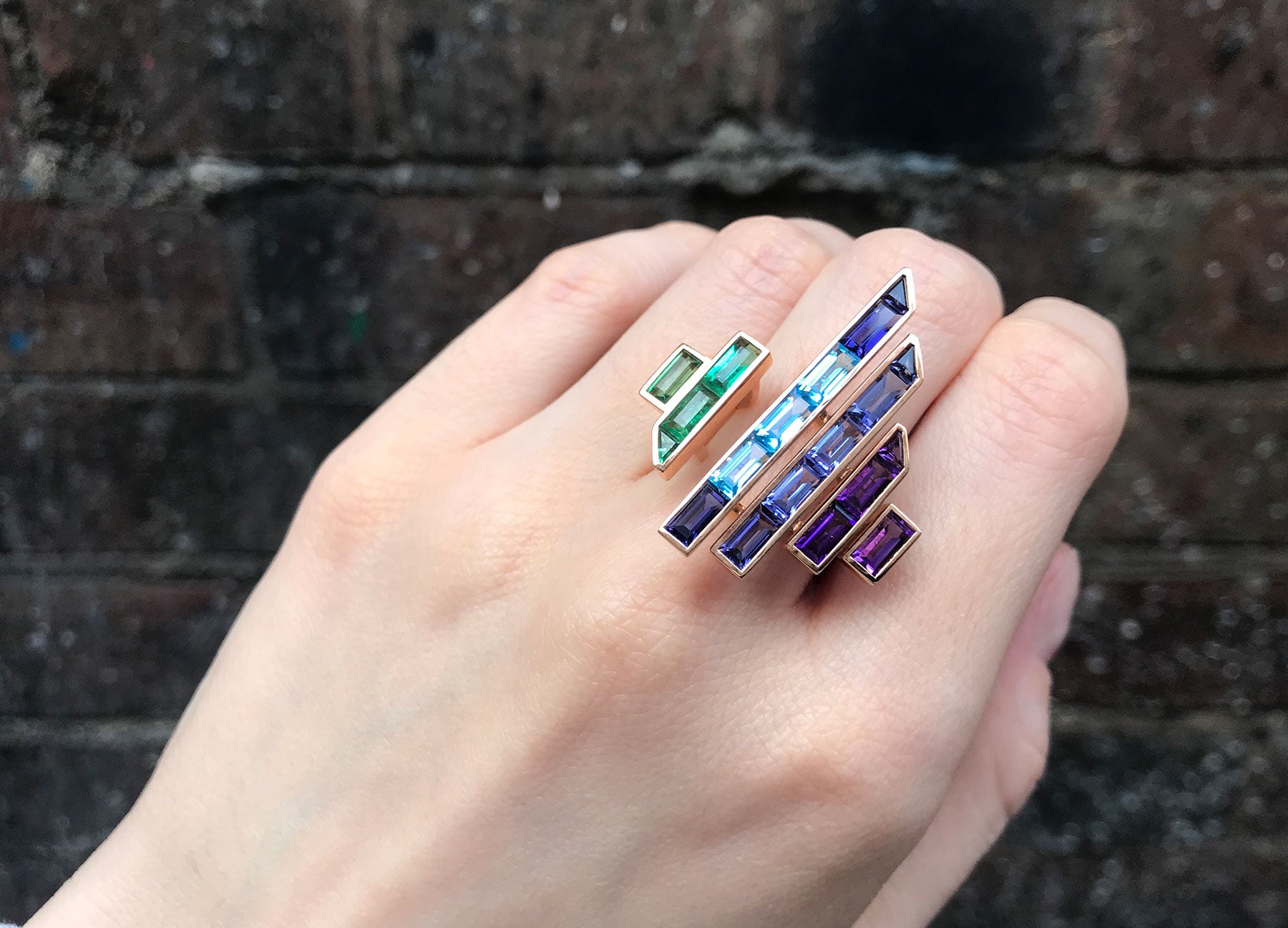 Blade runner rainbow ring in 18K rose gold by Tomasz Donocik worn view 2