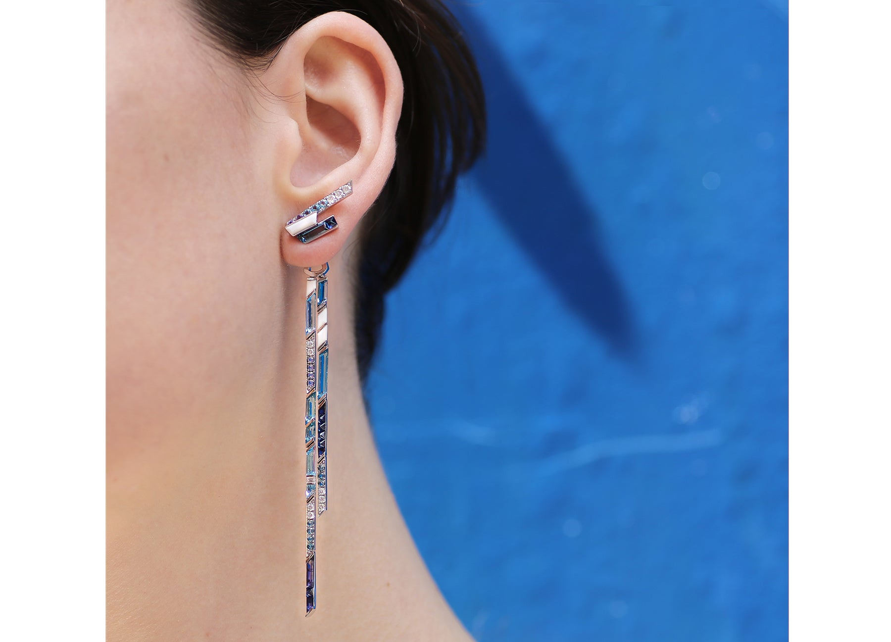 ELECTRIC NIGHT BLUE CASCADE LONG DROP EARRINGS