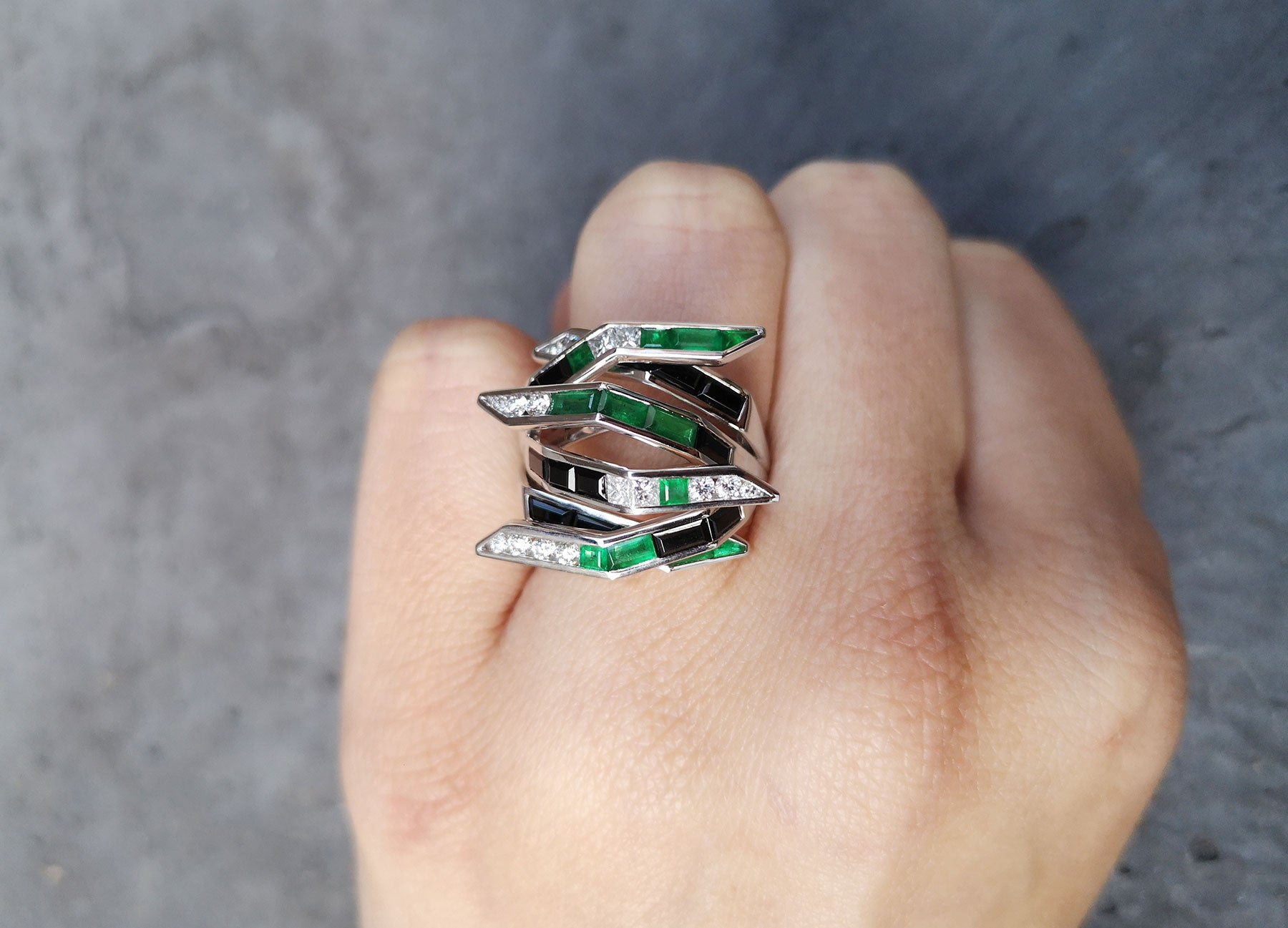 Emerald Diamond and Black Spinel Bombay Ring by Tomasz Donocik worn view 2