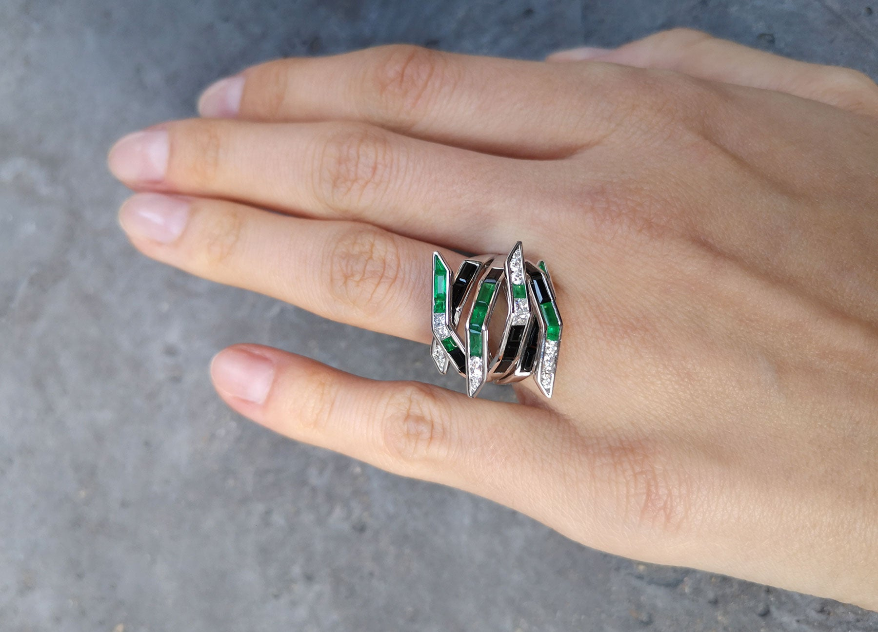 Emerald Diamond and Black Spinel Bombay Ring by Tomasz Donocik worn view 1