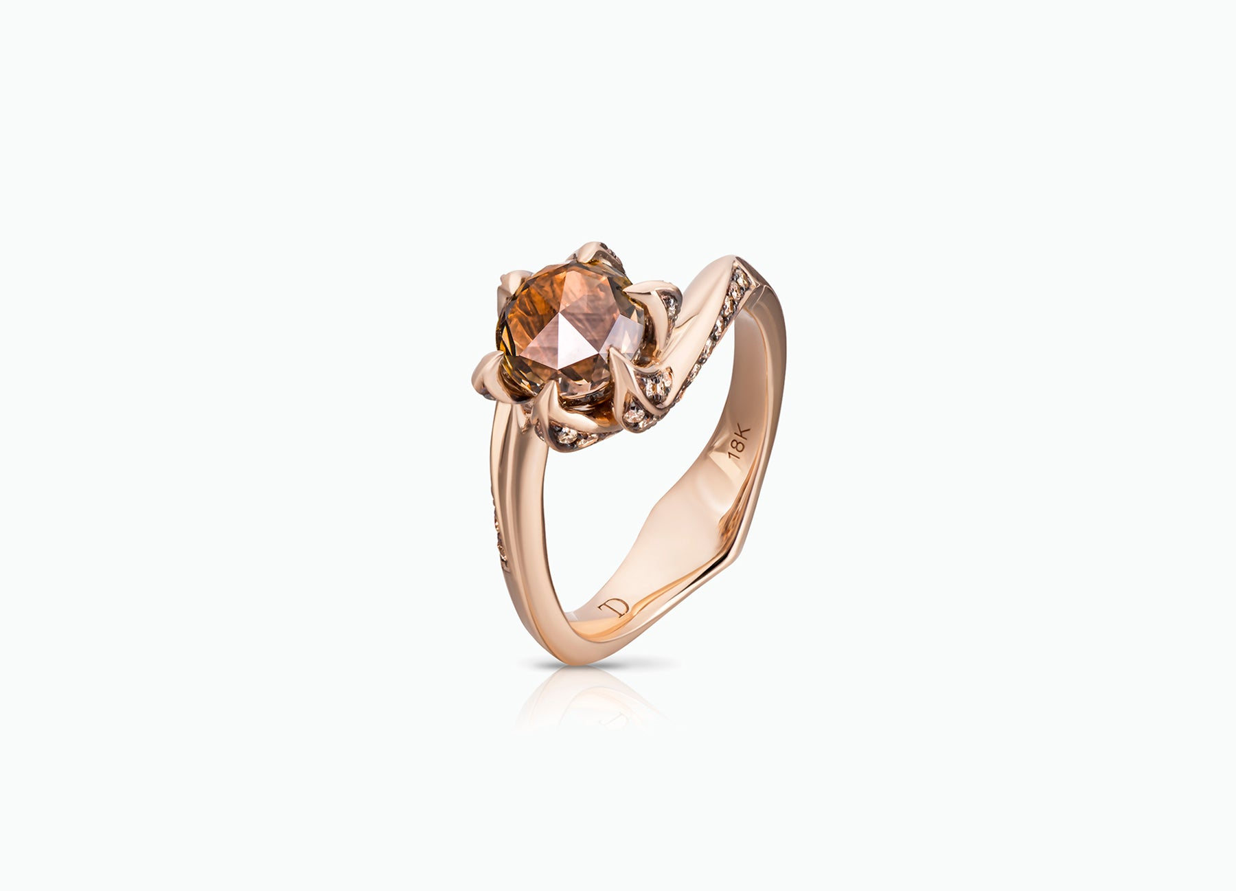 BROWN DIAMOND LILY PAD RING