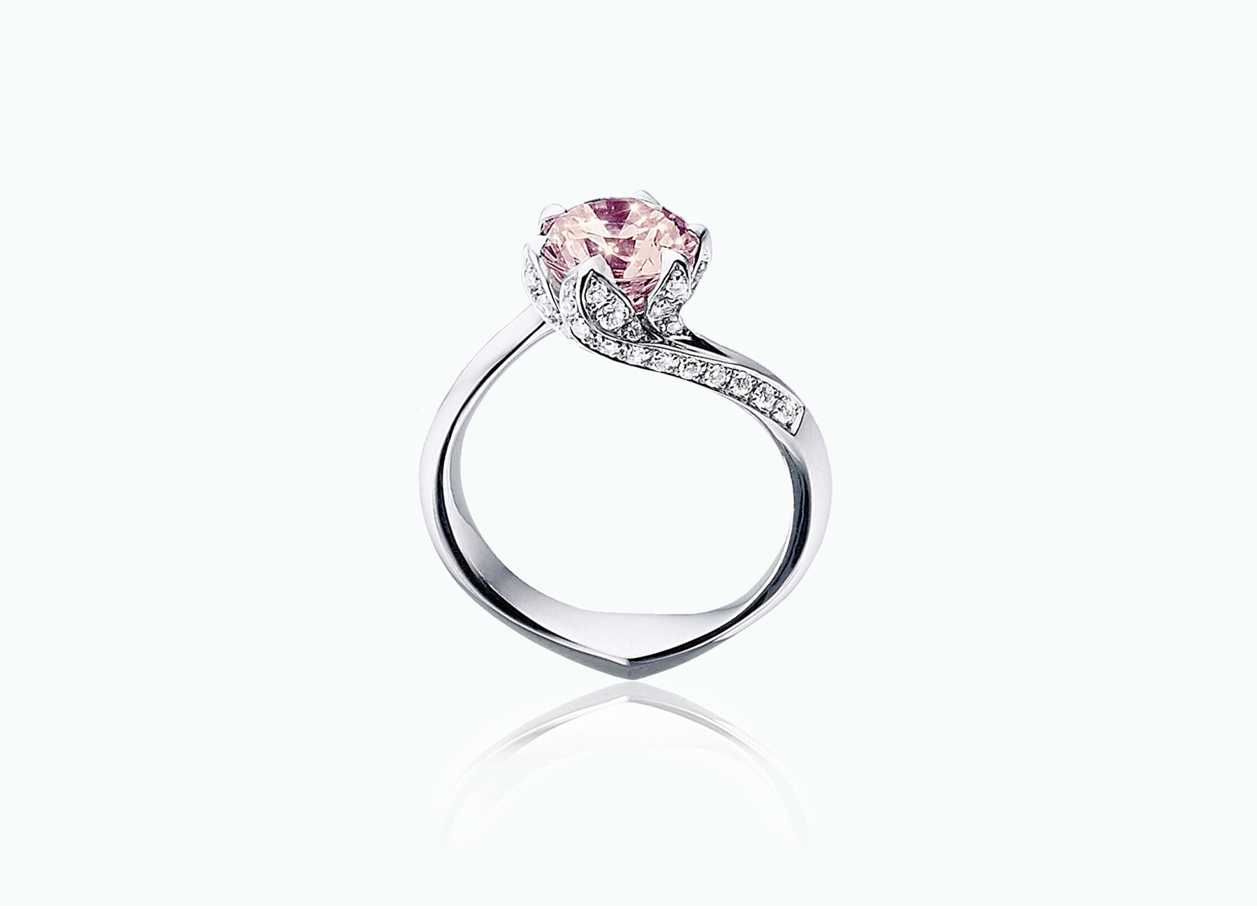 Lily Pad White Gold Unique Engagement Ring with White Diamonds and a Morganite Centre Stone
